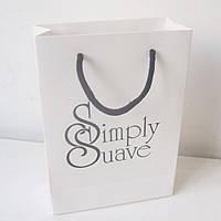 Бумажный пакет с логотипом из офсетной бумаги 195х170х70