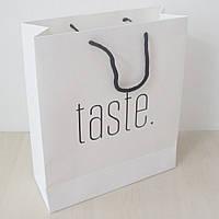 Бумажный пакет с логотипом из офсетной бумаги 230х220х100