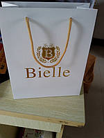 Бумажный пакет с логотипом из картона 320х220х80