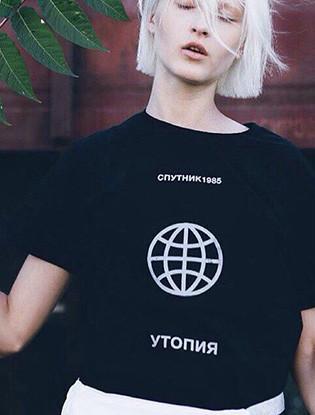 Футболка с принтом Спутник 1985 женская Утопия