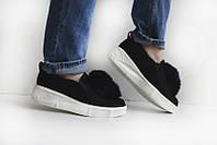 Туфли лоферы  слипоны с мехом  мега стильно