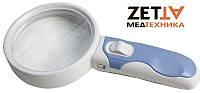 Лупа ручная c LED подсветкой, 5X увеличение, диаметр 90 мм, Magnifier 77390B3 в Днепре