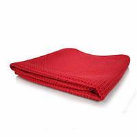 Безворсовое (вафельное) полотенце красного цвкта для стекол, 61Х40 СМ MIC_707_1