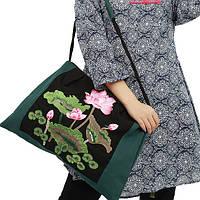 Женская тканевая сумка зеленого цвета Лилии