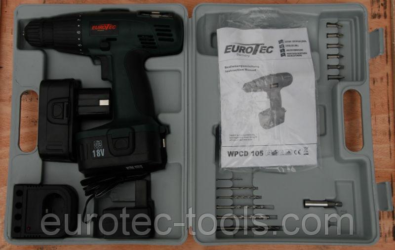 Аккумуляторный шуруповёрт 18 В Eurotec CD 105, чемодан с набором