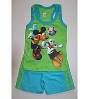 """Детский летний костюм, борцовка и шорты,  """"Микки и Дональд"""", рост от 74 до 116 см"""