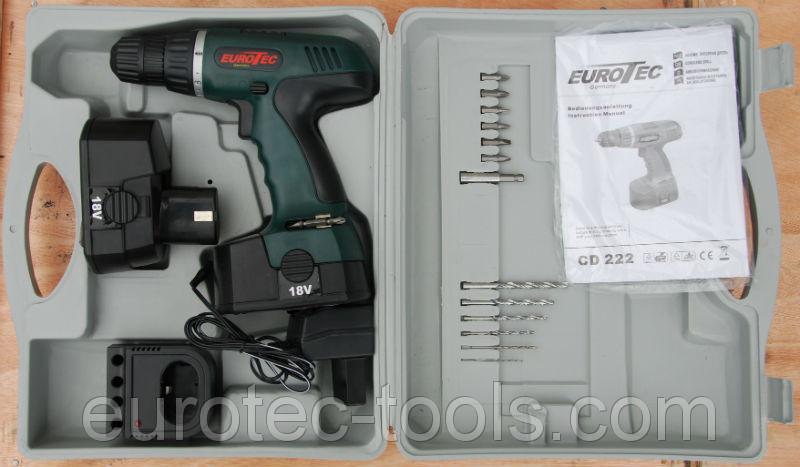 Аккумуляторный шуруповёрт 12 В Eurotec CD 222, чемодан с набором
