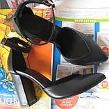 Mante! Красивые женские замшевые черные босоножки туфли каблук 10 см весна лето осень, фото 6