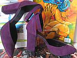 Mante! Красивые женские красивого фиолетового цвета замшевые босоножки туфли каблук 10 см весна лето осень, фото 4