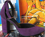 Mante! Красивые женские красивого фиолетового цвета замшевые босоножки туфли каблук 10 см весна лето осень, фото 6