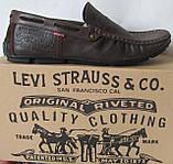 Стильные кожаные мужские мокасины в стиле Levis весна лето осень туфли горький шоколад, фото 4