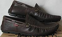 Стильные кожаные мужские мокасины в стиле Levis весна лето осень туфли горький шоколад, фото 1