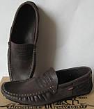 Стильные кожаные мужские мокасины в стиле Levis весна лето осень туфли горький шоколад, фото 8