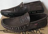 Стильные кожаные мужские мокасины в стиле Levis весна лето осень туфли горький шоколад, фото 2