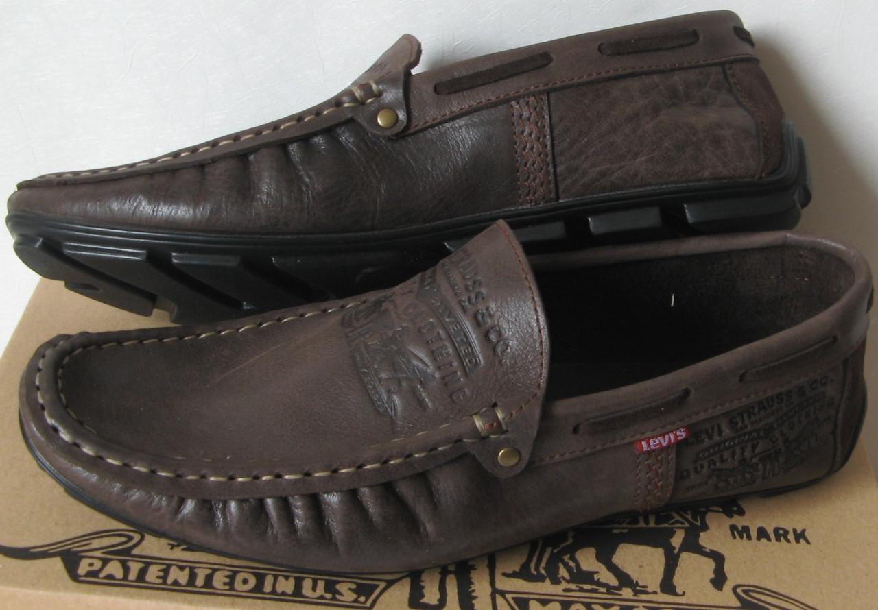 5f0b74b6f5fd Стильные кожаные мужские мокасины в стиле Levis весна лето осень туфли  горький шоколад - Trendy-