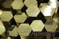 Латунный шестигранник № 14,17, 19, 22, 24, 27, 30, 32 мм ГОСТ ЛС59-1, Л63 п/тв