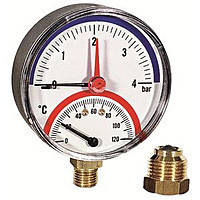 "ECO 484 Термоманометр нижнее подключение 4 атм.120 градусов с клапаном 1/2"""