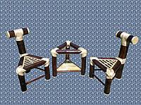 Набор BA_158 бамбуковый комплект 1 стол 2 стула. Садовая мебель. Сделано в Индии.