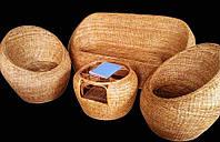 Комплект плетённой мебели из лозы CA_170. В комплекте 1 диван 3х местный, 2 кресла, стол журнальный. Садовая мебель. Сделано в Индии.