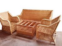 Комплект плетённой мебели из лозы CA_199.  В комплекте 1 диван 3х местный, 2 кресла, стол журнальный. Садовая мебель. Сделано в Индии.