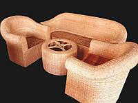 Комплект плетённой мебели из лозы CA_348.  В комплекте 1 диван 3х местный, 2 кресла, стол журнальный. Садовая мебель. Сделано в Индии.
