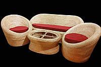 Комплект плетённой мебели из лозы CA_201.  В комплекте 1 диван 3х местный, 2 кресла, стол журнальный. Садовая мебель. Сделано в Индии.