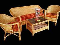 Комплект плетённой мебели из лозы CA_202.  В комплекте 1 диван 3х местный, 2 кресла, стол журнальный. Садовая