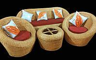 Комплект плетённой мебели из лозы CA_354.  В комплекте 1 диван 3х местный, 2 кресла, стол журнальный. Садовая мебель. Сделано в Индии.