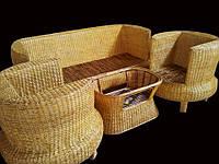 Комплект плетённой мебели из лозы CA_200.  В комплекте 1 диван 3х местный, 2 кресла, стол журнальный. Садовая мебель. Сделано в Индии.