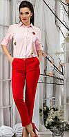 Женские укороченные брюки. Красные.