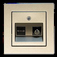 Розетка TV+компьютерная розетка, шампань-металлик, Epsilon