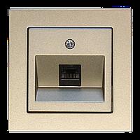 Розетка комп'ютерна одинарна, шампань-металік, Epsilon
