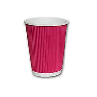 Гофрированный стакан Малиновый 400мл. 25 шт./уп