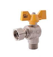 SD Forte кран шаровый угловой с накидной гакой для газа 1/2 х 1/2