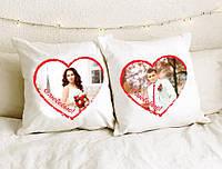 Парные подушки с фотографией на День Валентина