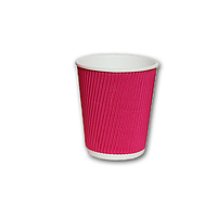 Гофрированный стакан Малиновый 275мл. 25 шт./уп