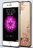 Силиконовый чехол с золотым ободком и узорами и камнями Сваровски для Iphone 5/5s