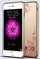 Силиконовый чехол с золотым ободком и узорами и камнями Сваровски для Iphone 5/5s , фото 1