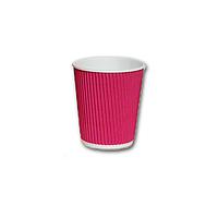 Гофрированный стакан Малиновый 175мл. 25 шт./уп