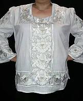 Богатая женская вышиванка вышита белым шелком и золотом Княжеские маки