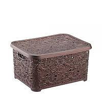 Контейнер с крышкой для хранения мелочей АЖУР ELIF (коричневый перламутр) 6 л