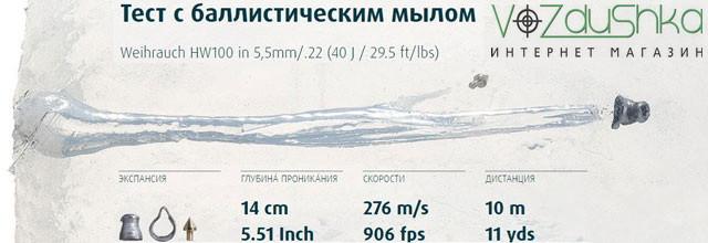 тест с баллистическим гелем пуль H&N Hornet