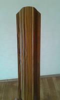 Евроштакетник металлический тип2, Дуб 3D, высота 1 м