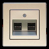 Розетка компьютерная двойная, шампань-металлик, Epsilon