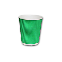 Стакан картонный гофрированный 275мл зеленый 25шт/уп