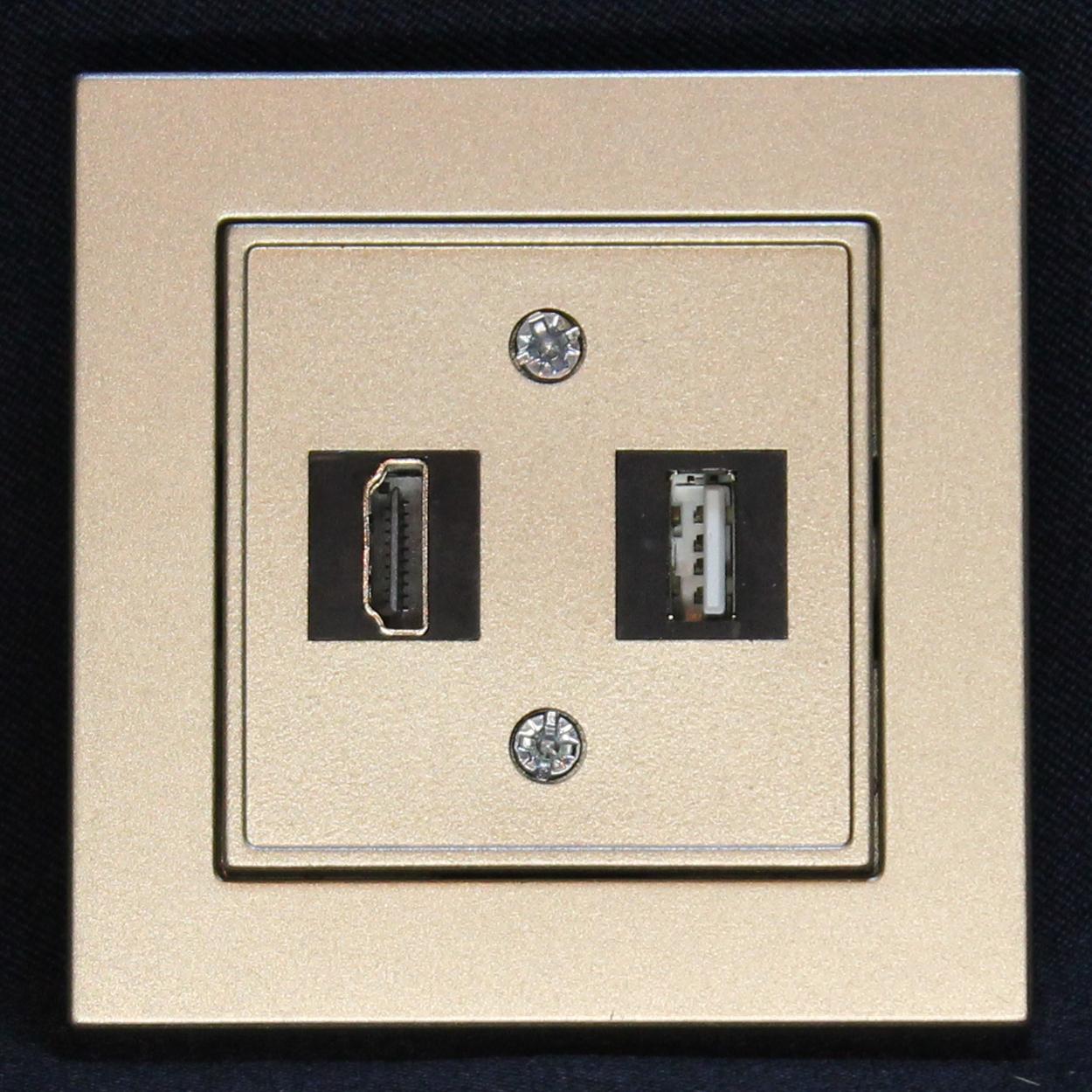 Розетка HDMI+USB, шампань-металік, Epsilon