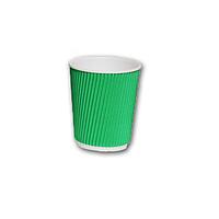 Стакан картонный гофрированный 175мл зеленый 25шт/уп