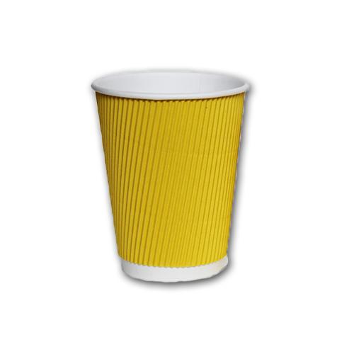 (2531196)склянку картонний гофрований 400мл жовтий (25шт/уп)