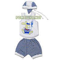 Детский летний костюм р. 80-86 для мальчика тонкий ткань КУЛИР 100% хлопок 3639 Голубой 80