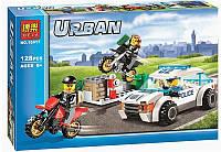 """Конструктор аналог LEGO City 60042 """"Полицейская погоня"""" 128 дет. Bela  26х16х4,5 см."""
